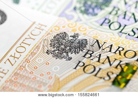 photographed close-up new Polish paper money. Banknotes worth two hundred zloty