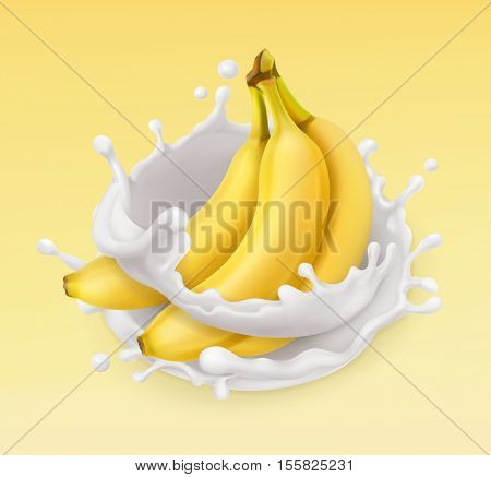 Banana and milk splash. Fruit and yogurt. Realistic illustration. 3d vector icon