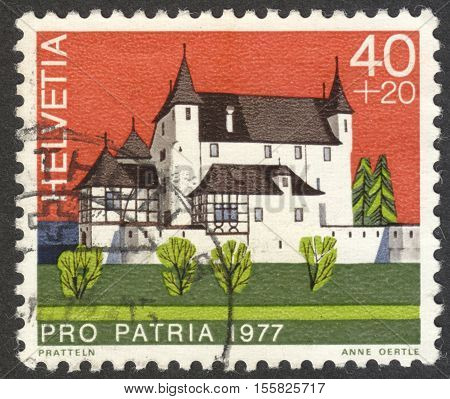MOSCOW RUSSIA - CIRCA OCTOBER 2016: a post stamp printed in SWITZERLAND shows Pratteln (Basel Canton) the series