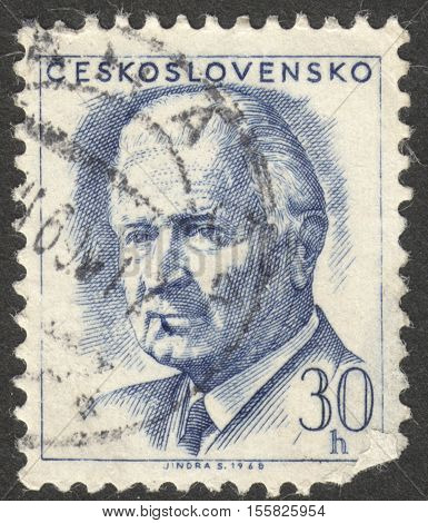 MOSCOW RUSSIA - CIRCA OCTOBER 2016: a stamp printed in CZECHOSLOVAKIA shows a portrait of the President Svoboda circa 1968
