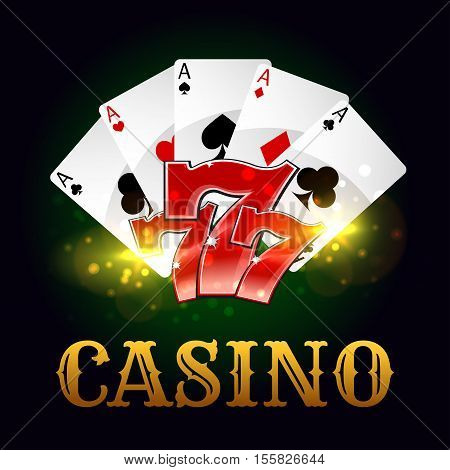 Casino poster. Poker game aces cards with lucky number seven. Vector design for casino gamble fortune advertising poster, poker game placard