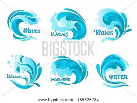 Water waves splash. Vector ocean wave isolated icons. Blue water wave graphic sign for decoration. Waves of sea tide, storm, foamy splash symbols