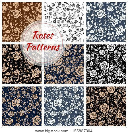 Rose flowery decoration pattern. Floral seamless background of vector decorative rose flowers. Flourish ornate tiles set of flower bud, blossom, stem, tendril