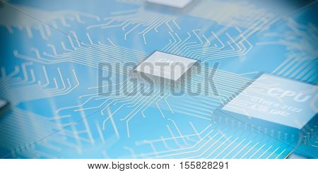 3D Rendering Electronic Circuit Cpu Processor