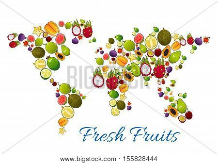 Fresh fruits icons in shape of fruit world map. Vector fresh farm and tropical exotic fruits mango, papaya, carambola, dragon fruit, pomelo, orange, passion fruit maracuya, grape, fig, dragon fruit, avocado, lychee, guava, lemon, kiwi