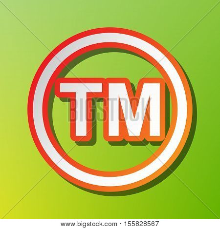 Trade Mark Sign. Contrast Icon With Reddish Stroke On Green Backgound.