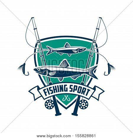 Fishing sport sign. Fisherman sport club vector isolated badge icon of fish, fishing spinning rod, hook bait, ribbon, marine shield. Fishing adventure trip