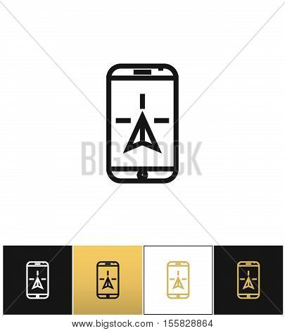 Phone navigation or travel mobile gps geolocation vector icon. Phone navigation or travel mobile gps geolocation pictograph on black, white and gold background