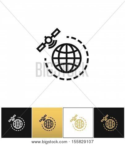 World gps satellite vector icon. World gps satellite pictograph on black, white and gold background
