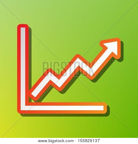 Growing Bars Graphic Sign. Contrast Icon With Reddish Stroke On Green Backgound.