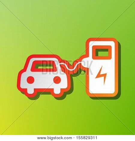 Electric Car Battery Charging Sign. Contrast Icon With Reddish Stroke On Green Backgound.
