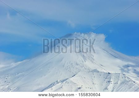 Volcanic landscape of Kamchatka: winter view of eruption Klyuchevskaya Sopka