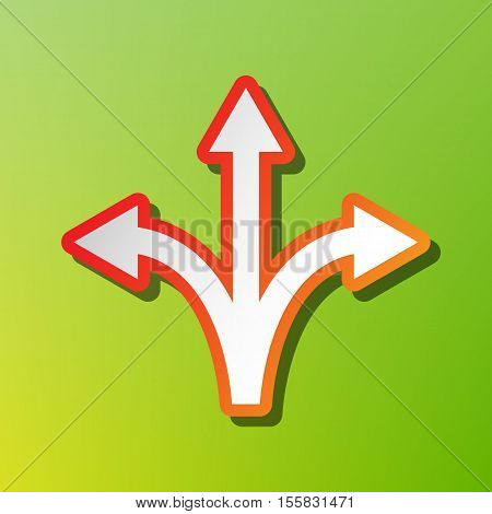 Three-way Direction Arrow Sign. Contrast Icon With Reddish Stroke On Green Backgound.