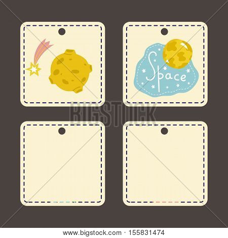 Beige price tags with space cartoons. Moon in craters, falling star or comet, planet with text and stars vector illustrations. Square templates for kids clothing, toys labels, discounts cards design