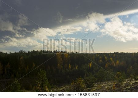 Clouds form an arch over the forest, emphasizing the bright fall colors.