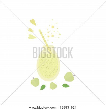 Glass jar with fruit shake smoothie and apples on a table. illustration