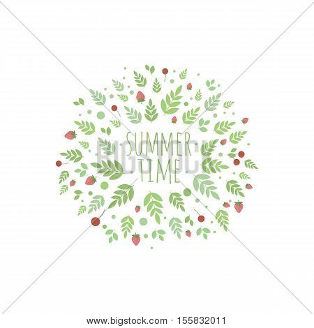 Frame with berries and leaves. element for design. Summer time