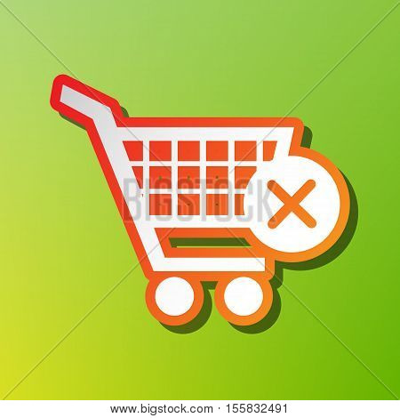 Shopping Cart With Delete Sign. Contrast Icon With Reddish Stroke On Green Backgound.