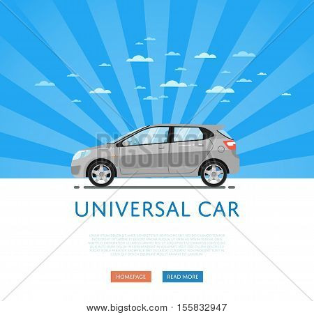 City car isolated on rays background. Vector hatchback car. Vehicles cartoon car isolated. Hatchback car side view isolated. Urban car or family car cartoon style. Modern car model. Hatchback car icon. For car rental service or car sale poster. Car ad.