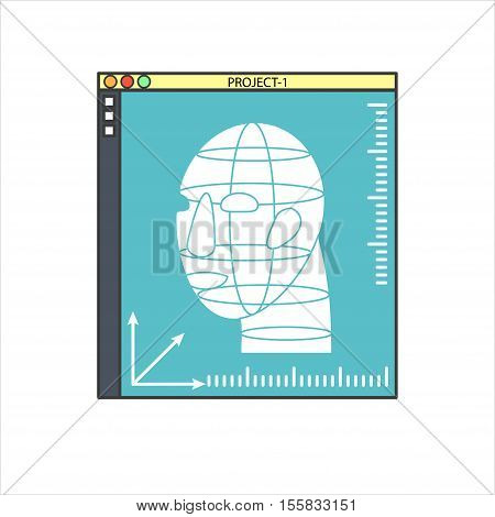Vector 3D bio-printers with human head. Medical technology symbols. Concept of future biological engineering. Flat design illustration isolated on white