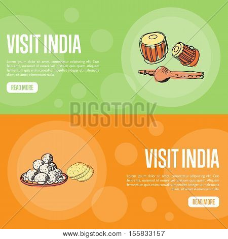 Visit India horizontal banners. Pundi, tabla drums and exotic sweets hand drawn vector illustrations. Web templates with country related doodle symbols.