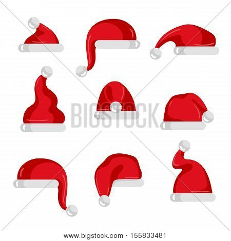 Red santa hat collection. Christmas santa hat isolated vector. Santa hat icons. Cartoon red santa hat set. Xmas santa red hat. Santa Hat for photo montage or Christmas party with santa hat. Santa hat. Christmas red hat. Santa Claus hat. Santa Claus clothi