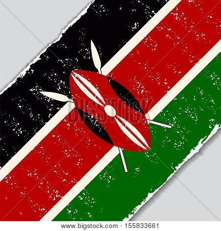 Kenyan grunge flag diagonal background. Vector illustration.