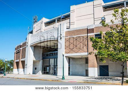 NORFOLK, VIRGINIA - MAY 2, 2015:  Harbor Park minor league baseball stadium and home of the Norfolk Tides.