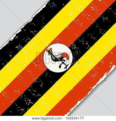Ugandan grunge flag diagonal background. Vector illustration.