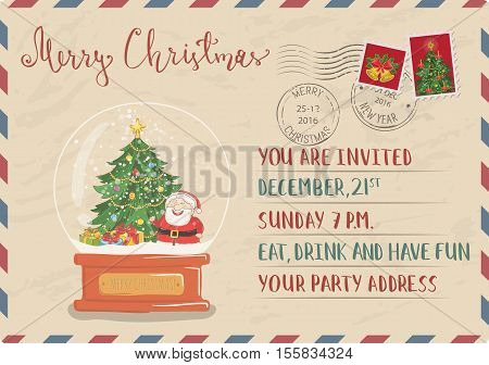 Vintage Christmas Postcard with postal stamps. Snow globe with Santa, christmas tree, gifts cartoon vector. Invitation on holiday party. Merry Christmas and Happy New Year greeting card. Xmas letter