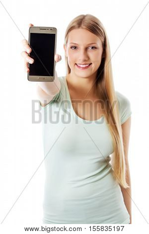 Young woman showing mobile cell phone with black screen.