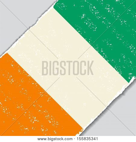 Cote d Ivoire grunge flag diagonal background. Vector illustration.