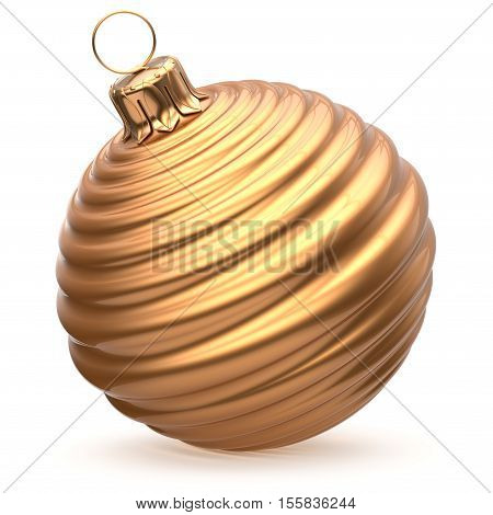 Christmas ball New Year's Eve decoration gold shiny striped bauble wintertime hanging adornment souvenir golden waved. Traditional ornament happy winter holidays Merry Xmas symbol closeup. 3d render