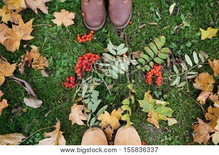 season and people concept - couple of feet in boots with rowanberries and autumn leaves on grass