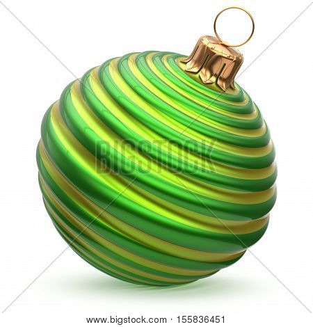 Christmas ball New Year's Eve decoration green shiny waved striped bauble wintertime hanging adornment souvenir. Traditional ornament happy winter holidays Merry Xmas symbol closeup. 3d render