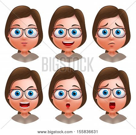 Woman avatar vector character. Set of teenager nerd girl heads with facial expressions wearing eyeglasses isolated in white background. Vector illustration.