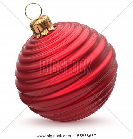 Christmas ball New Year's Eve decoration red shiny waved bauble wintertime hanging adornment souvenir scarlet. Traditional ornament happy winter holidays Merry Xmas beautiful symbol closeup. 3d render