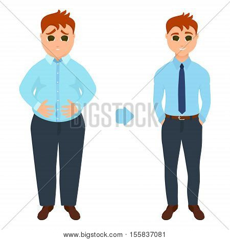 Man before and after weight loss. Perfect body symbol. Successful diet fitness and weight loss concept. Perfect for fitness gyms and health magazines. Vector illustration.