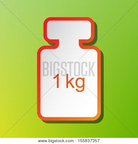 Weight Simple Sign. Contrast Icon With Reddish Stroke On Green Backgound.
