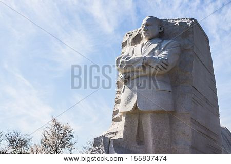 WASHINGTON, D.C. - APRIL 6, 2014: Sculpture of civil rights activist, Dr. Martin Luther King, Jr., at his memorial in West Potomac Park.