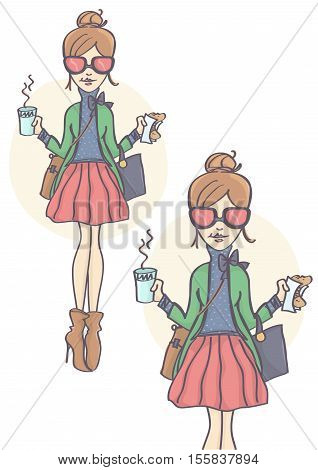 Fashionable, cute girl with pink sunglasses standing and holding cup of hot drink and croissant. Business woman or student having coffee break, eating bagel, set of two.