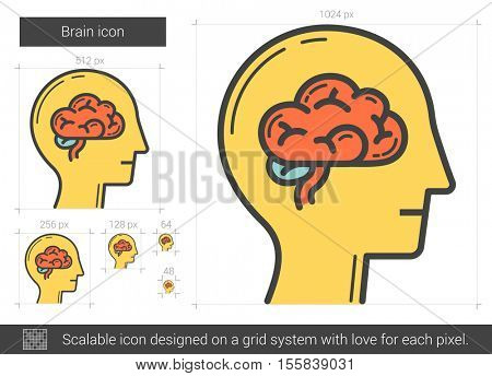 Brain vector line icon isolated on white background. Brain line icon for infographic, website or app. Scalable icon designed on a grid system.