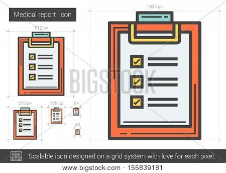 Medical report vector line icon isolated on white background. Medical report line icon for infographic, website or app. Scalable icon designed on a grid system.
