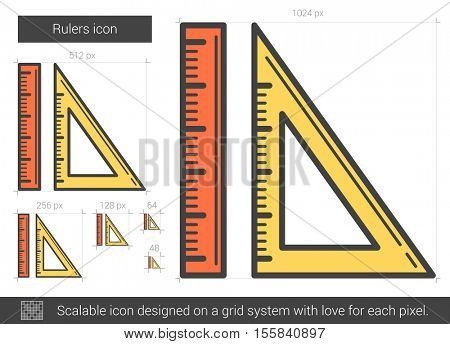 Rulers vector line icon isolated on white background. Rulers line icon for infographic, website or app. Scalable icon designed on a grid system.