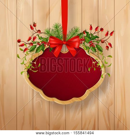 Vector illustration of Christmas signboard with holiday garland, wooden frame