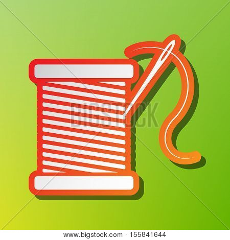 Thread With Needle Sign Illustration. Contrast Icon With Reddish Stroke On Green Backgound.
