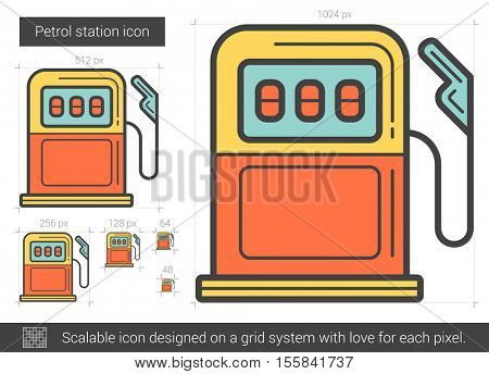 Petrol station vector line icon isolated on white background. Petrol station line icon for infographic, website or app. Scalable icon designed on a grid system.