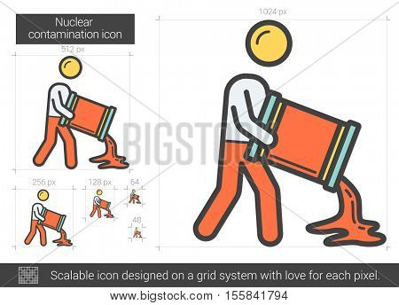 Nuclear contamination vector line icon isolated on white background. Nuclear contamination line icon for infographic, website or app. Scalable icon designed on a grid system.