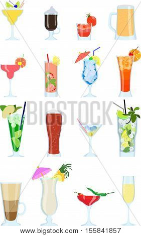 Detailed illustration alcohol coctails and other drinks isolated in a flat style on white background.