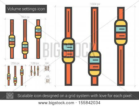 Volume settings vector line icon isolated on white background. Volume settings line icon for infographic, website or app. Scalable icon designed on a grid system.